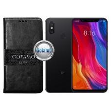 Gotamo D-gravity natūralios odos dėklas Xiaomi Mi Mix 2S mobiliesiems telefonams juodos spalvos