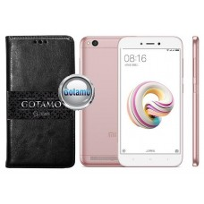 Gotamo D-gravity natūralios odos dėklas Xiaomi Redmi 5A mobiliesiems telefonams juodos spalvos