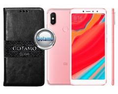 Gotamo D-gravity natūralios odos dėklas Xiaomi Redmi S2 mobiliesiems telefonams juodos spalvos