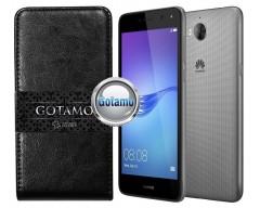 Gotamo I-gravity natūralios odos dėklas Huawei Y5 (2017) Y6 (2017) mobiliesiems telefonams juodos spalvos