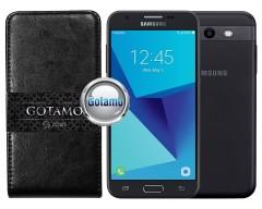 Gotamo I-gravity natūralios odos dėklas Samsung Galaxy J3 Prime J3 Emerge mobiliesiems telefonams juodos spalvos