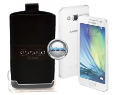 Gotamo Insert įmaunamas natūralios odos dėklas Samsung Galaxy A5 telefonams juodos spalvos