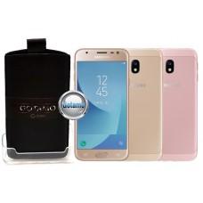 Gotamo Insert įmaunamas natūralios odos dėklas Samsung Galaxy J3 (2017) telefonams juodos spalvos