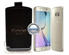 Gotamo Insert įmaunamas natūralios odos dėklas Samsung Galaxy S6 edge telefonams juodos spalvos