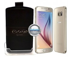 Gotamo Insert įmaunamas natūralios odos dėklas Samsung Galaxy S6 telefonams juodos spalvos