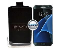 Gotamo Insert įmaunamas natūralios odos dėklas Samsung Galaxy S7 edge telefonams juodos spalvos