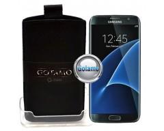 Gotamo Insert įmaunamas natūralios odos dėklas Samsung Galaxy S7 telefonams juodos spalvos