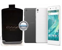Gotamo Insert įmaunamas natūralios odos dėklas Sony Xperia E5 telefonams juodos spalvos