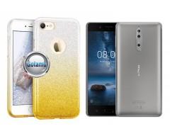 iLLuminaTe silikoninis dėklas nugarėlė Nokia 8 telefonams aukso spalvos