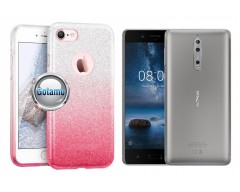 iLLuminaTe silikoninis dėklas nugarėlė Nokia 8 telefonams rožinės spalvos