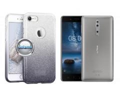 iLLuminaTe silikoninis dėklas nugarėlė Nokia 8 telefonams sidabro spalvos