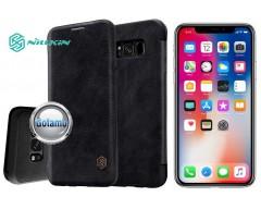 Nillkin Qin odinis dėklas Apple iPhone X Xs telefonams juodos spalvos