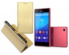 Re-Grid magnetinis dėklas Sony Xperia M4 Aqua mobiliesiems telefonams aukso spalvos