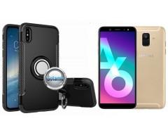 Ring Case dėklai nugarėlės Samsung Galaxy A6+ (2018) mobiliesiems telefonams juodos spalvos