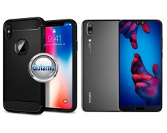 Siege dėklas nugarėlė Huawei P20 mobiliesiems telefonams juodos spalvos