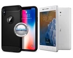 Siege dėklas nugarėlė Nokia 3 mobiliesiems telefonams juodos spalvos