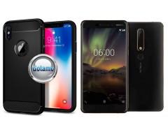 Siege dėklas nugarėlė Nokia 6.1 Nokia 6 (2018) mobiliesiems telefonams juodos spalvos