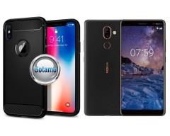 Siege dėklas nugarėlė Nokia 7 Plus mobiliesiems telefonams juodos spalvos