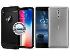Siege dėklas nugarėlė Nokia 8 mobiliesiems telefonams juodos spalvos
