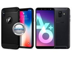 Siege dėklas nugarėlė Samsung Galaxy A6+ (2018) mobiliesiems telefonams juodos spalvos
