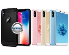Siege dėklas nugarėlė Xiaomi Mi A2, Xiaomi Mi 6X mobiliesiems telefonams juodos spalvos