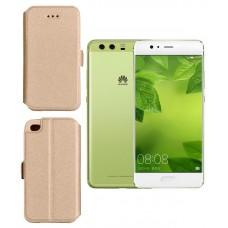Slim Diary dėklas Huawei P10 Plus mobiliesiems telefonams aukso spalvos