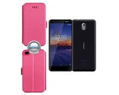Slim Diary dėklas Nokia 3.1 telefonams rožinės spalvos