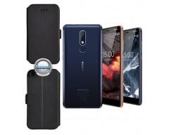Slim Diary dėklas Nokia 5.1 mobiliesiems telefonams juodos spalvos