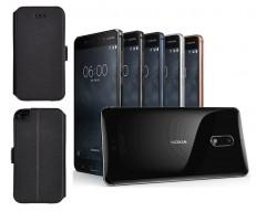 Slim Diary dėklas Nokia 6 mobiliesiems telefonams juodos spalvos