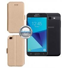 Slim Diary dėklas Samsung Galaxy J3 Prime J3 Emerge mobiliesiems telefonams aukso spalvos