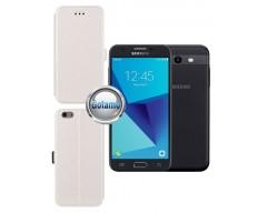 Slim Diary dėklas Samsung Galaxy J3 Prime J3 Emerge mobiliesiems telefonams baltos spalvos