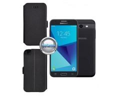 Slim Diary dėklas Samsung Galaxy J3 Prime J3 Emerge mobiliesiems telefonams juodos spalvos