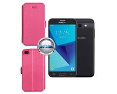 Slim Diary dėklas Samsung Galaxy J3 Prime J3 Emerge mobiliesiems telefonams rožinės spalvos
