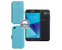 Slim Diary dėklas Samsung Galaxy J3 Prime J3 Emerge mobiliesiems telefonams žydros spalvos