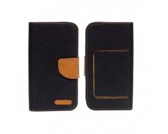 Universalus Canvas dėklas mobiliesiems telefonams su 5.0 colių skersmens ekranu juodos spalvos