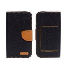Universalus Canvas dėklas mobiliesiems telefonams su 5.5 colių skersmens ekranu juodos spalvos