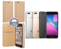 Vennus Diary magnetinis dėklas Huawei P9 Lite mini telefonams aukso spalvos