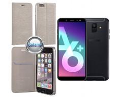 Vennus Diary magnetinis dėklas Samsung Galaxy A6+ (2018) telefonams sidabro spalvos