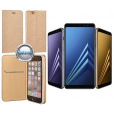 Vennus Diary magnetinis dėklas Samsung Galaxy A8+ (2018) telefonams aukso spalvos