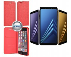 Vennus Diary magnetinis dėklas Samsung Galaxy A8+ (2018) telefonams raudonos spalvos