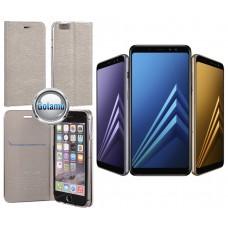 Vennus Diary magnetinis dėklas Samsung Galaxy A8+ (2018) telefonams sidabro spalvos