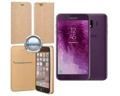 Vennus Diary magnetinis dėklas Samsung Galaxy J4 (2018) telefonams aukso spalvos