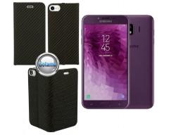Vennus Diary magnetinis dėklas Samsung Galaxy J4 (2018) telefonams Carbon juodos spalvos