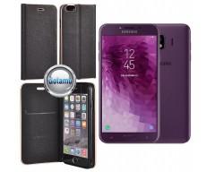 Vennus Diary magnetinis dėklas Samsung Galaxy J4 (2018) telefonams juodos spalvos