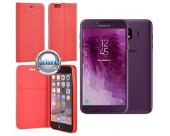 Vennus Diary magnetinis dėklas Samsung Galaxy J4 (2018) telefonams raudonos spalvos