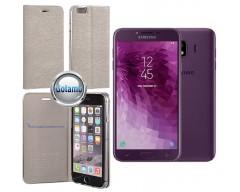 Vennus Diary magnetinis dėklas Samsung Galaxy J4 (2018) telefonams sidabro spalvos