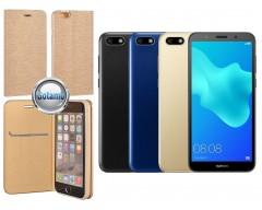 Vennus Diary magnetinis dėklas Huawei Y5 (2018) Huawei Honor 7S telefonams aukso spalvos