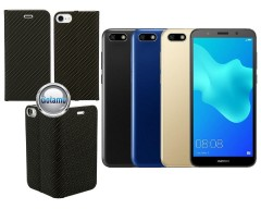 Vennus Diary magnetinis dėklas Huawei Y5 (2018) Huawei Honor 7S telefonams Carbon juodos spalvos