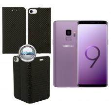Vennus Diary magnetinis dėklas Samsung Galaxy S9 mobiliesiems telefonams Carbon juodos spalvos