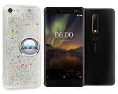 Waterfall dėklas nugarėlė Nokia 6.1 Nokia 6 (2018) telefonams sidabro spalvos